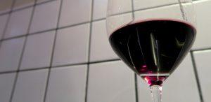 Wine glass with wine purple